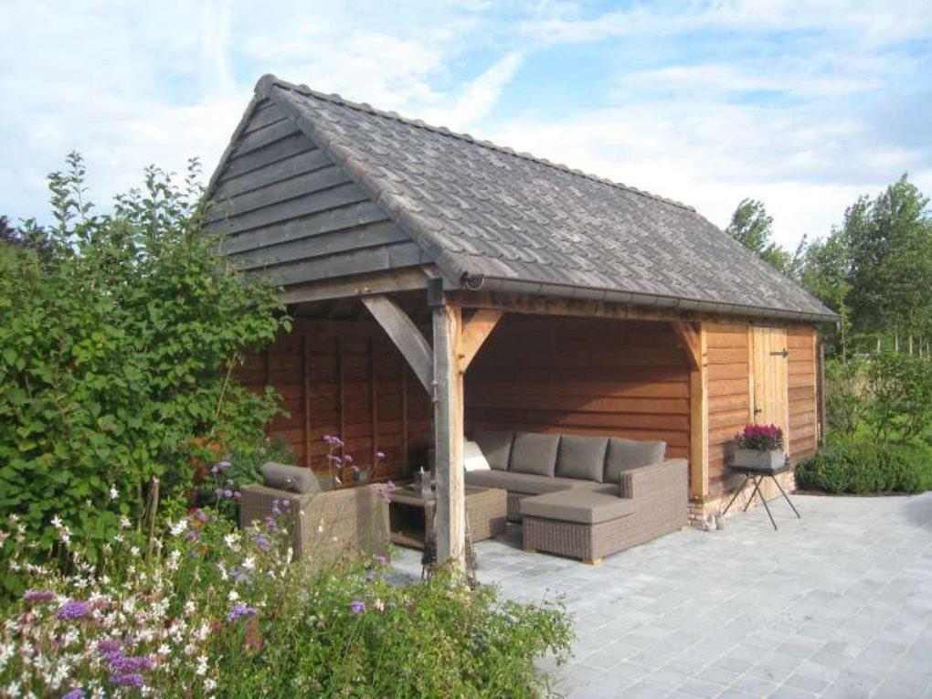 Tuinberging overdekt terras houtskeletbouw - Overdekt terras in hout ...